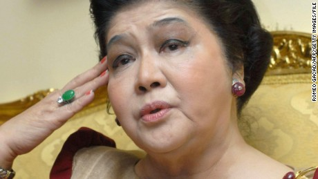 Former first lady Imelda Marcos talks at her apartment in Manila in 2007. For 20 years as first lady of the Philippines she lived a fairytale existence only to see it all disappear in a whirlwind of public outrage over the greed and excesses of the Marcos years. Through it all Imelda rode the storm. (ROMEO GACAD/AFP/Getty Images)