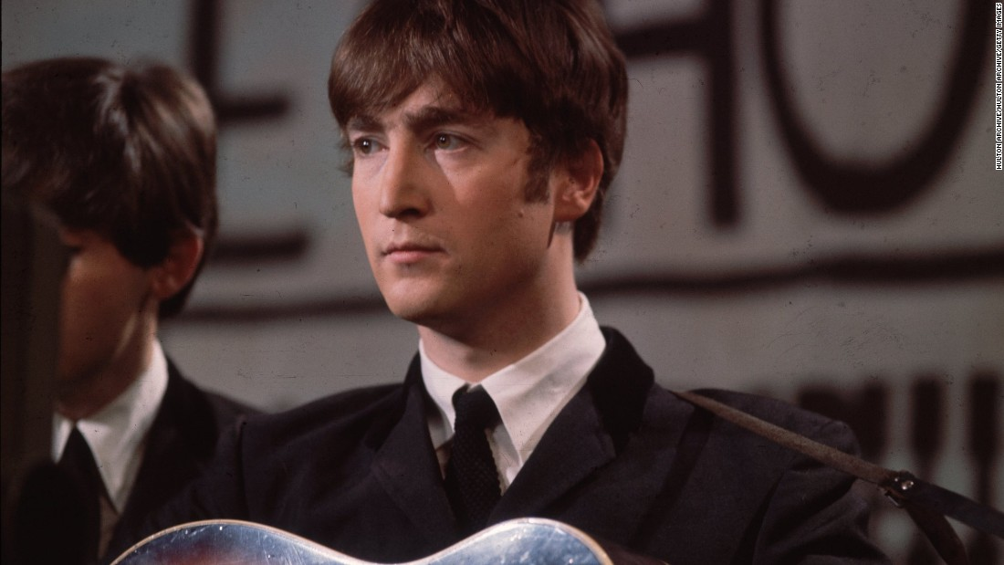 """I saw her standing there."" Lennon shows a growing maturity, suited up for an early TV appearance on UK Granada TV's ""Late Scene"" in 1963."