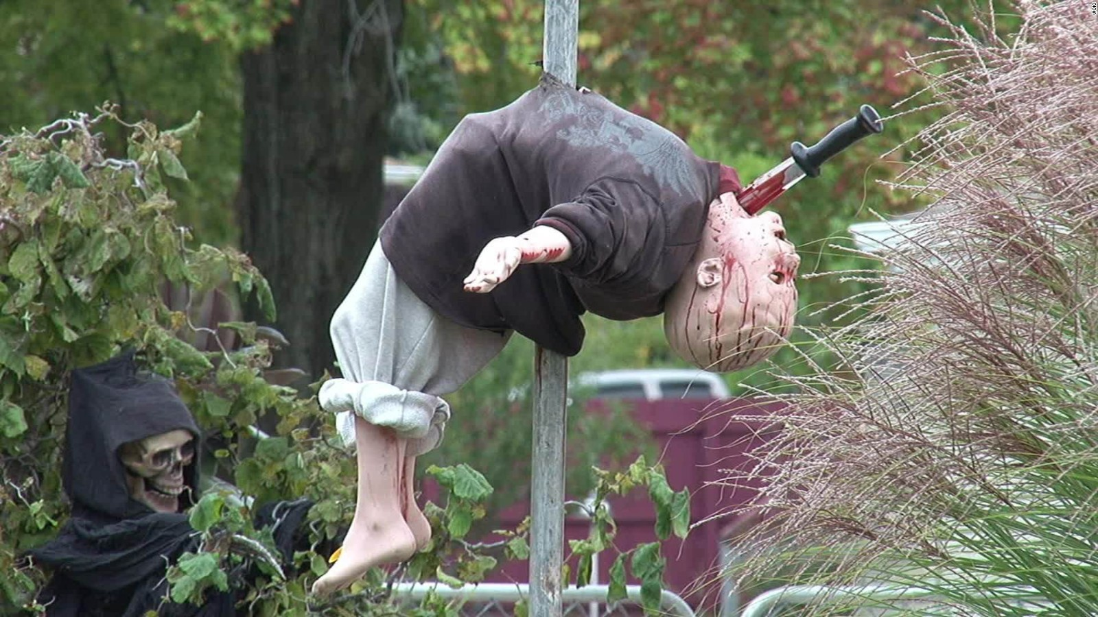 is halloween display too scary for kids cnn video