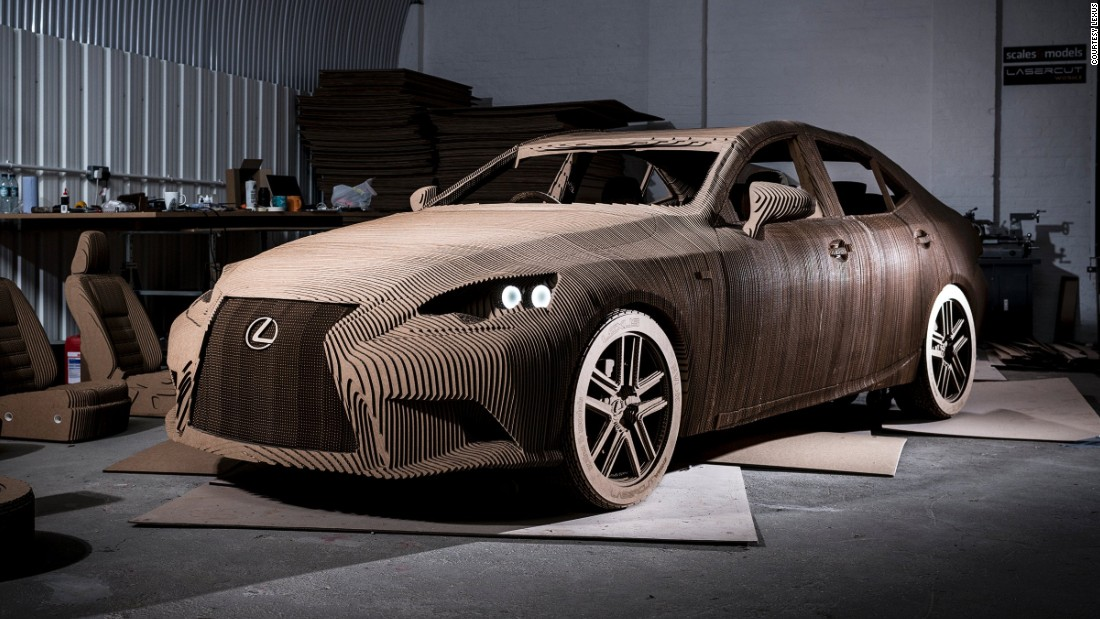 "This life-sized ""origami-inspired"" cardboard Lexus took a team of five modelers three months to build."