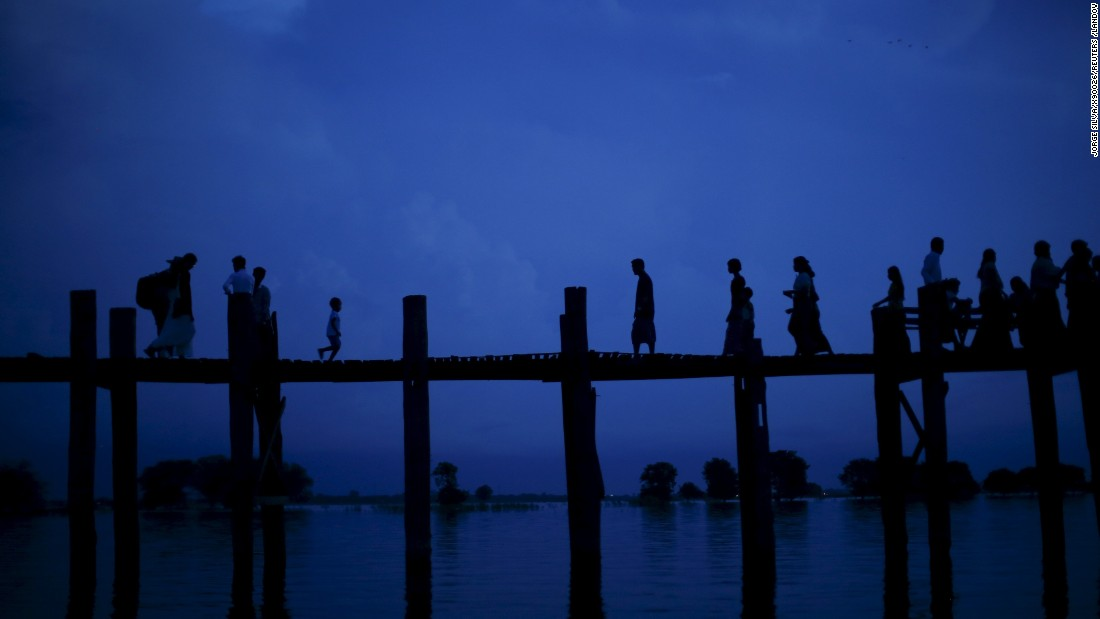Myanmar's U Bein Bridge crosses Taungthaman Lake and is believed to be the oldest and longest teakwood bridge in the world, having been completed in 1851.