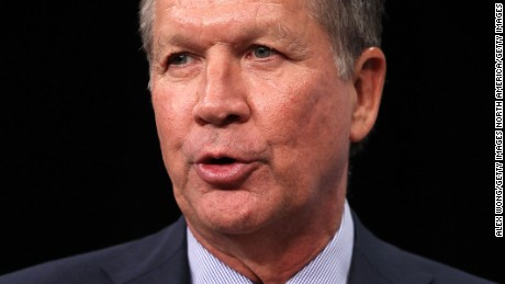 "WASHINGTON, DC - OCTOBER 06:  Republican U.S. presidential hopeful and Ohio Governor John Kasich speaks as he participates in a discussion with Javier Palomarez, president & CEO of theÊUnited StatesÊHispanic Chamber of Commerce, at the Newseum October 6, 2015 in Washington, DC. Governor Kasich spoke on ""how he will address issues that are important toÊAmerica's 3.2 million Hispanic businesses, the community at large, and every day American citizens.""  (Photo by Alex Wong/Getty Images)"