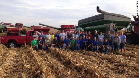 Around 40 people helped harvest 450 acres of the Bates family farm.