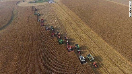 A neighbor used a crop-scouting plane to take the aerial pictures of the harvest.