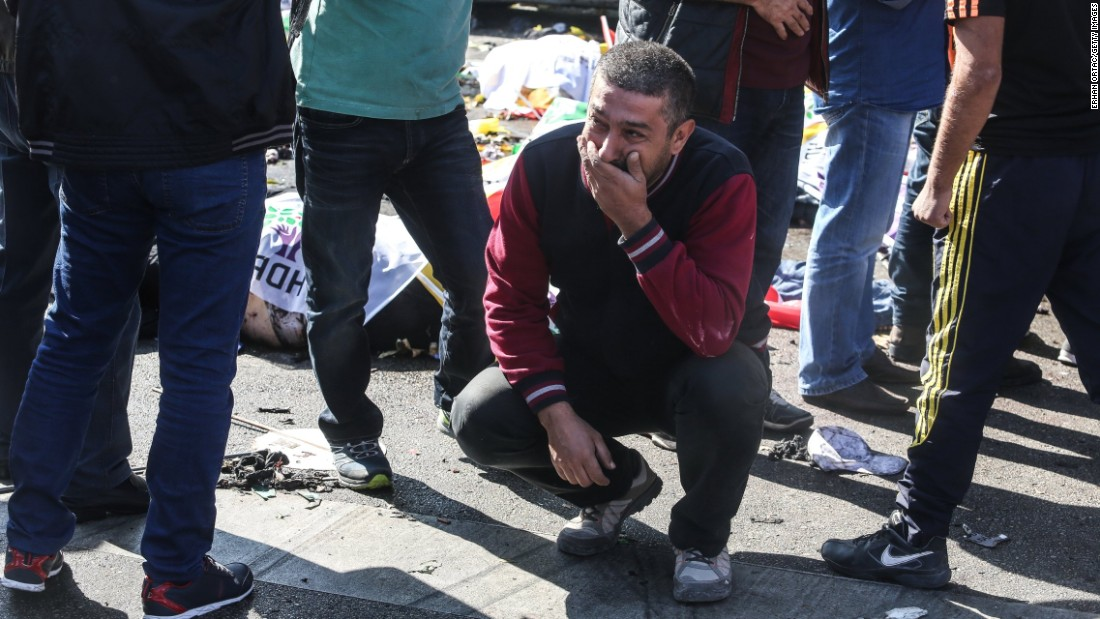 A man cries at the site of the blast.