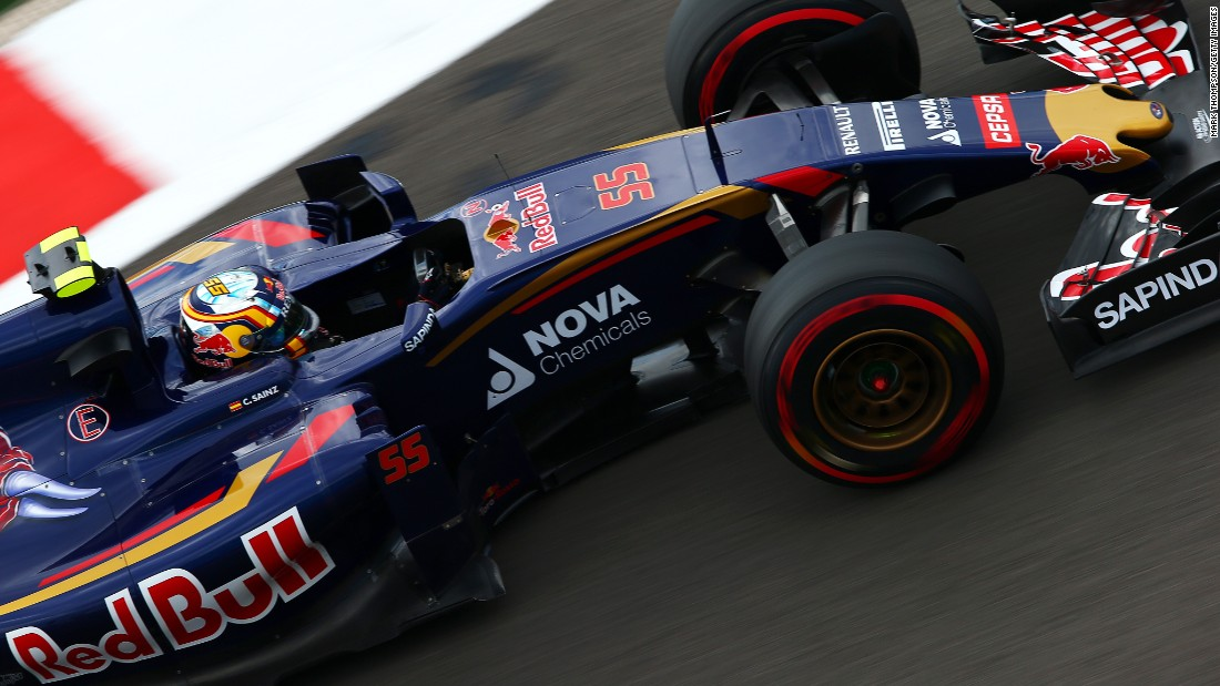 The 21-year-old Sainz drives during final practice and before his crash at Sochi.