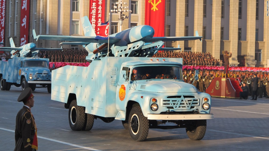 In a carefully choreographed show of strength and celebration to mark the 70th anniversary of the ruling Workers' Party, hundreds of troops marched in elaborate formations across Pyongyang's Kim Il Sung Square.