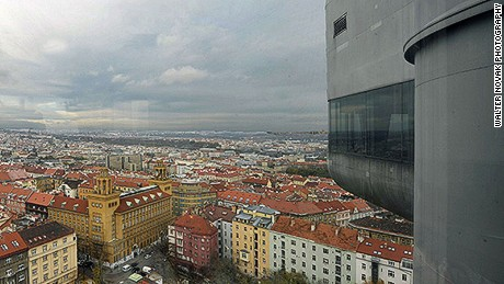 View of Prague from the former Žižkov Television Tower's One Room Hotel.