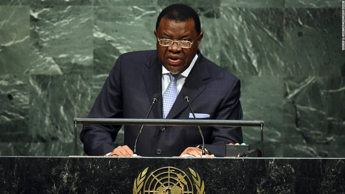 Hage Geingob, 74, is the third president of Namibia.  After serving as Prime Minister of the country for 12 years he became President in March 2015.