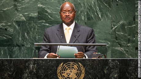 President Yoweri Museveni, here at the U.N. in 2014, changed Uganda's Constitution to stay in office.