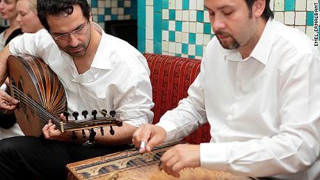 A fasil ekibi (traditional Turkish band) provides additional spirit at a raki gathering.
