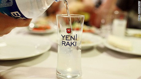 Raki is always served with chilled water.
