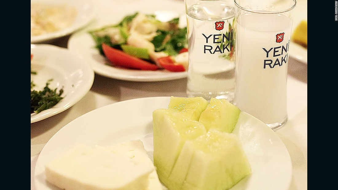 Feta and melons are the first meze to appear at a raki gathering. You don't even have to order them.