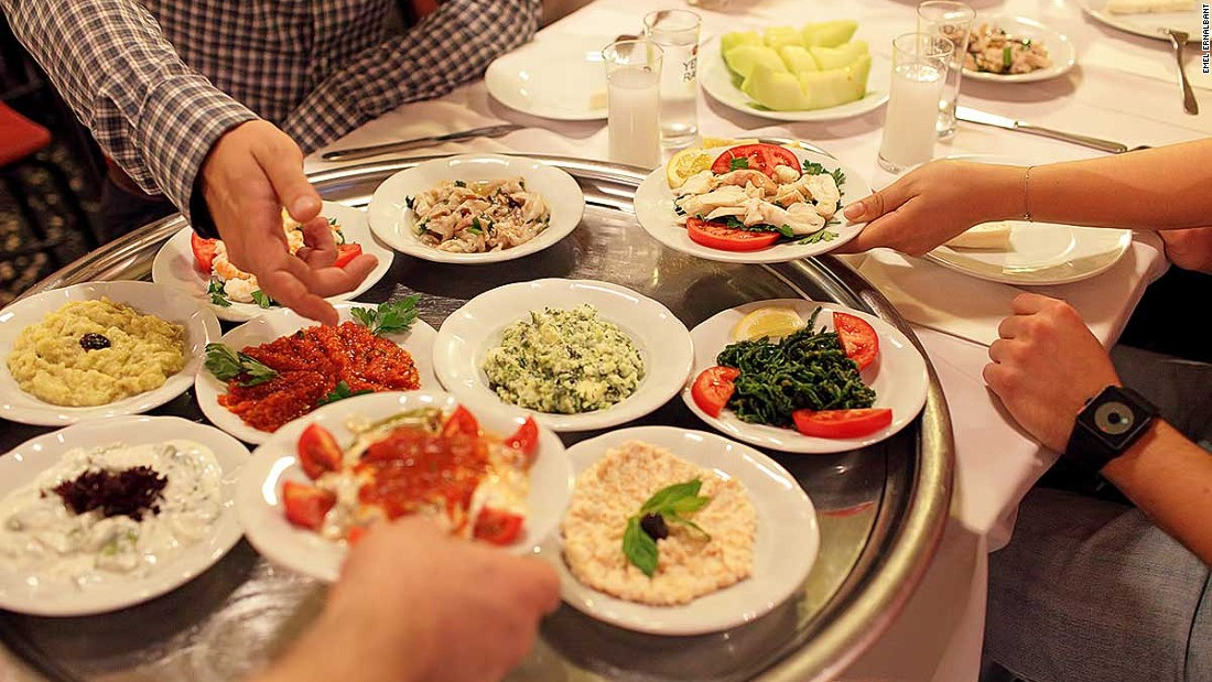 You're not going to want to drink it on an empty stomach. Meze platters are a great way to soak up the powerful raki (45% alcohol) throughout the night.