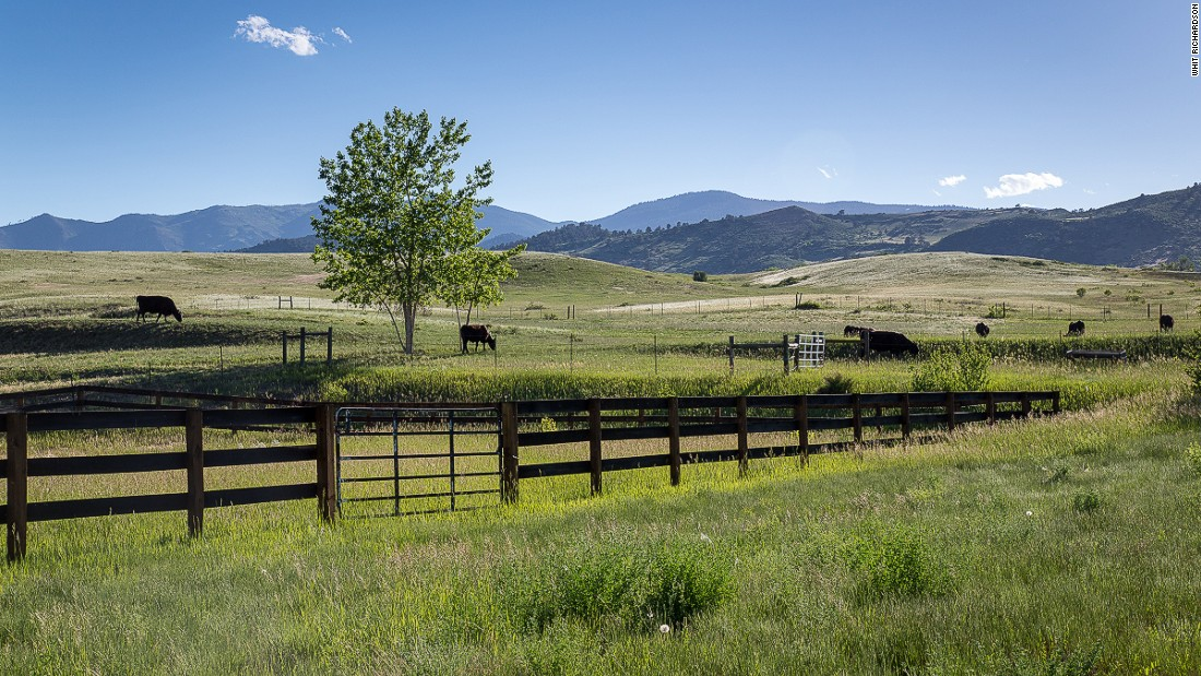 The ranch near Boulder spans 144 acres and the property is 10,600 sq ft in size.