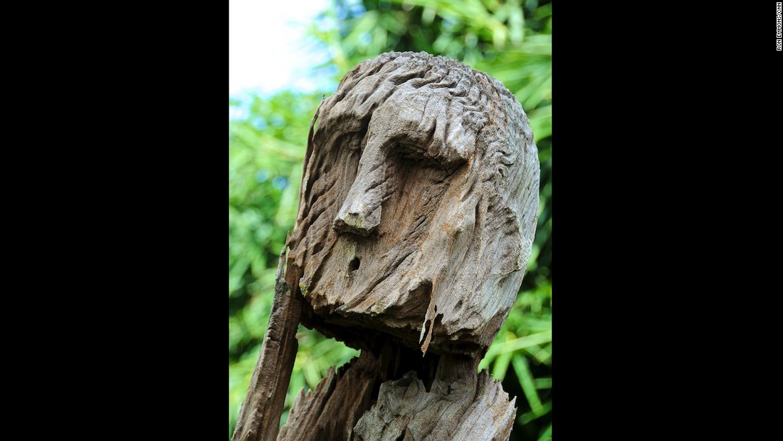 Wooden carvings in the graveyard can be pensive, glum, cheerful or even erotic.