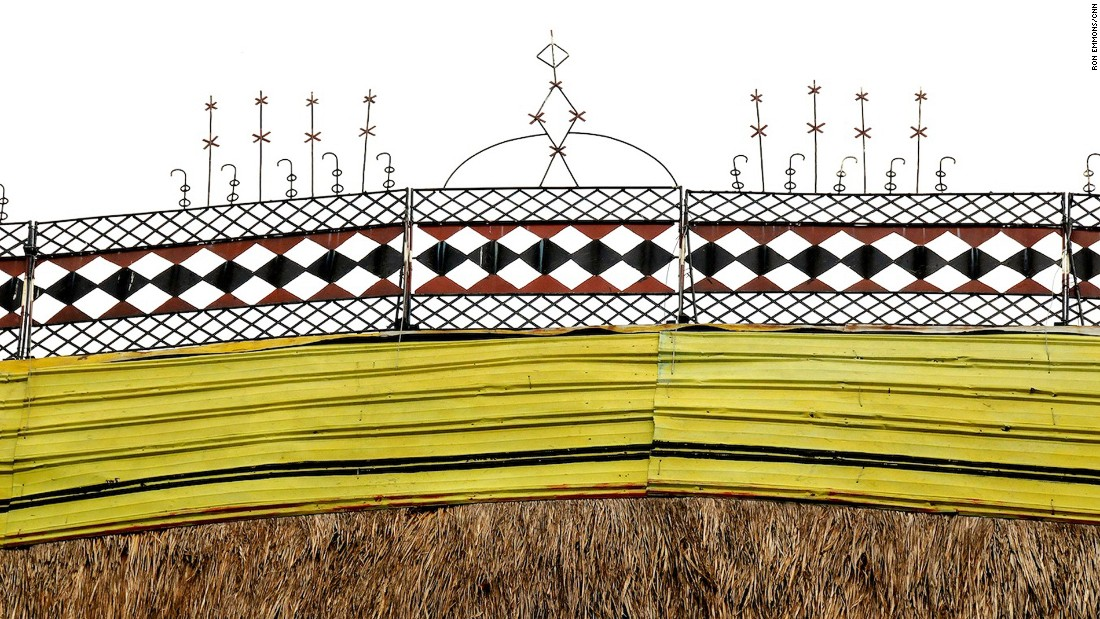 The peaks of the blade-shaped roofs are decorated with distinctive patterns unique to each village. <br />