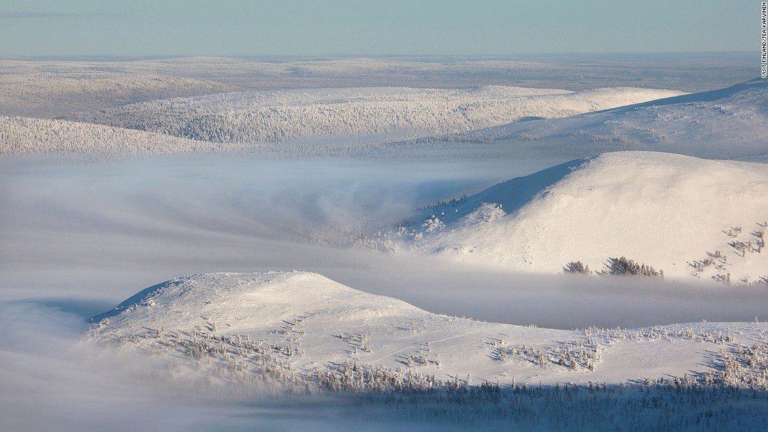 """It was still quiet at the top of the Yllas ski resort on a Sunday morning in the middle of February when this amazing view from the top of Yllas Mountain appeared,"" Tea Karvinen writes on VisitFinland.com. Located in Lapland, Pallas-Yllastunturi is Finland's third largest national park."