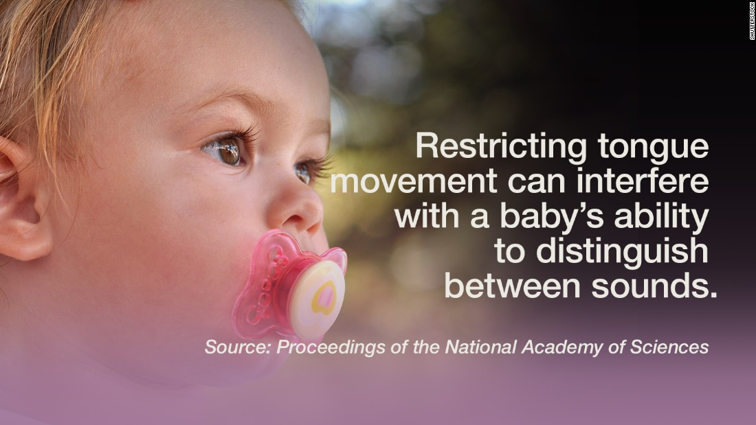"Commonly used teething toys restrict tongue movement and can interfere with a baby's ability to distinguish between two different sounds, <a href=""http://www.pnas.org/content/early/2015/10/06/1508631112.abstract"" target=""_blank"">according to a study</a> published by the Proceeding of the National Academy of Sciences. Listening to sounds is not the only driving factor of speech perception and language acquisition for infants, the research showed. Six-month-old infants who had free tongue movement, as opposed to infants who were given teethers that restricted the movement, were able to make better distinctions of speech sounds. It seems that baby talk is beneficial for infants beyond the joy of babbling.  -- Viola Lanier"