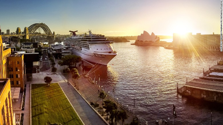The sun rises over Sydney Opera House and Sydney Harbour Bridge in this image from Dronestagrammer iflywithmylittleeye.