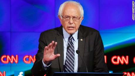Sen. Bernie Sanders, of Vermont, speaks during the CNN Democratic presidential debate Tuesday, Oct. 13, 2015, in Las Vegas. (AP Photo/John Locher)