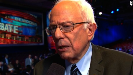 Bernie Sanders talks to CNN after the Democratic debate