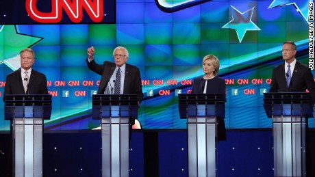Democratic presidential candidates Jim Webb, Sen. Bernie Sanders (I-VT), Hillary Clinton and Martin O'Malley take part in presidential debate sponsored by CNN and Facebook at Wynn Las Vegas on October 13, 2015 in Las Vegas, Nevada.