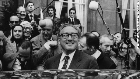Henry Kissinger, the American Special Envoy, leaves the Elysee Palace, Paris, France, after a meeting with President Pompidou to discuss the Soviet Union.