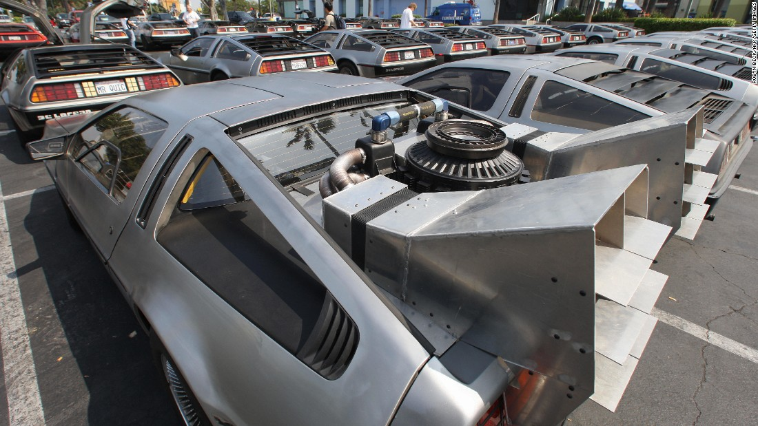 100 DeLorean cars and their owners convene at Universal Studios Hollywood in 2007. Production on the car ceased in 1982. There are an estimated 6,000 DeLoreans left in the world.