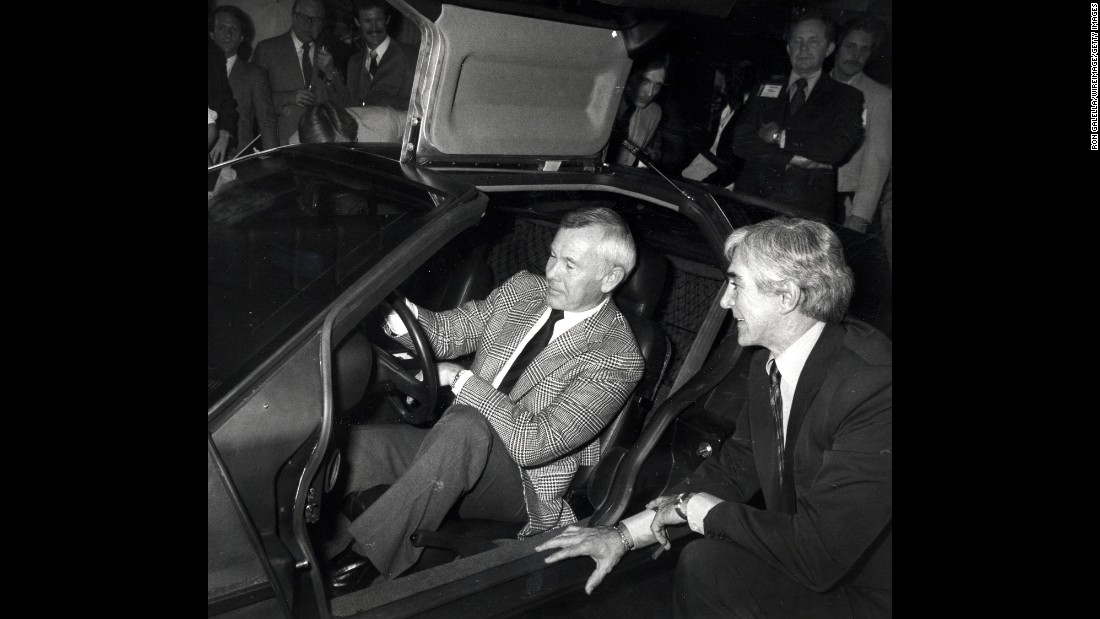"This photo shows American talk show host Johnny Carson and John DeLorean during the public unveiling of the DeLorean Motor Car on February 8, 1981 in Los Angeles. Carson invested $500,000 DeLorean Motor Company -- which he later called, an ""ill-fated investment."""