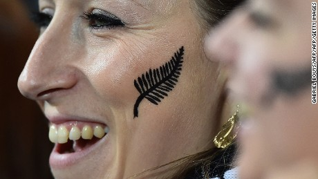 A New Zealand supporter smiles prior to a Pool C match of the 2015 Rugby World Cup between New Zealand and Tonga at St James' Park in Newcastle-upon-Tyne, northeast England, on October 9, 2015.  AFP PHOTO / GABRIEL BOUYS  RESTRICTED TO EDITORIAL USE, NO USE IN LIVE MATCH TRACKING SERVICES, TO BE USED AS NON-SEQUENTIAL STILLS        (Photo credit should read GABRIEL BOUYS/AFP/Getty Images)