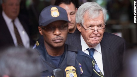Former Republican Speaker of the House Dennis Hastert leaves the Dirksen Federal Courthouse following his  arraignment on June 9, 2015, in Chicago.