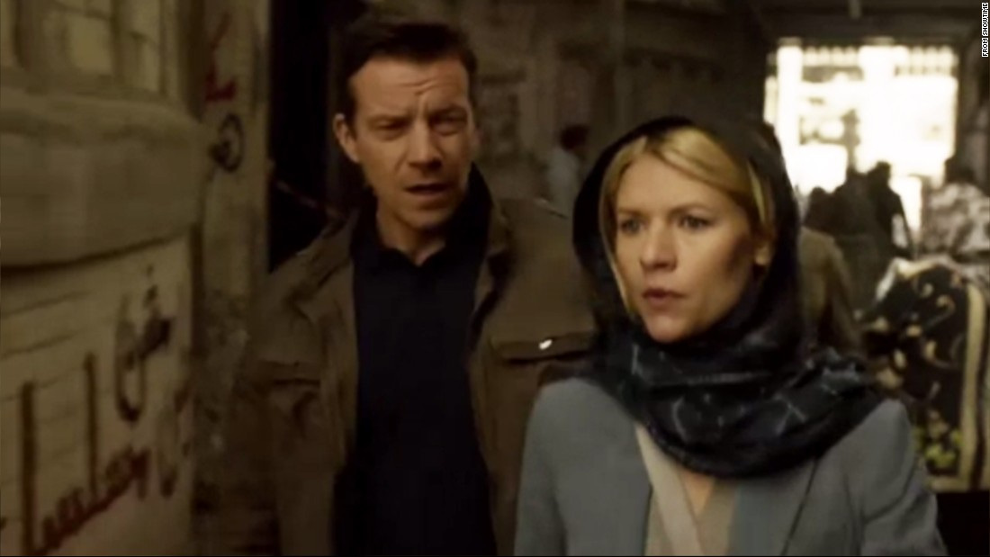 Homeland is racist       Graffiti sneaked onto TV show   CNN com Claire Danes star of hit U S  TV series  amp quot Homeland amp quot  walks past graffiti on
