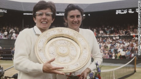 Billie Jean King of the United States holds aloft the Venus Rosewater Dish after defeating Judy Tegart Dalton of Australia in the Women's Singles Final match at the Wimbledon Lawn Tennis Championship on 5 July 1968 at the All England Lawn Tennis and Croquet Club in Wimbledon in London, England.