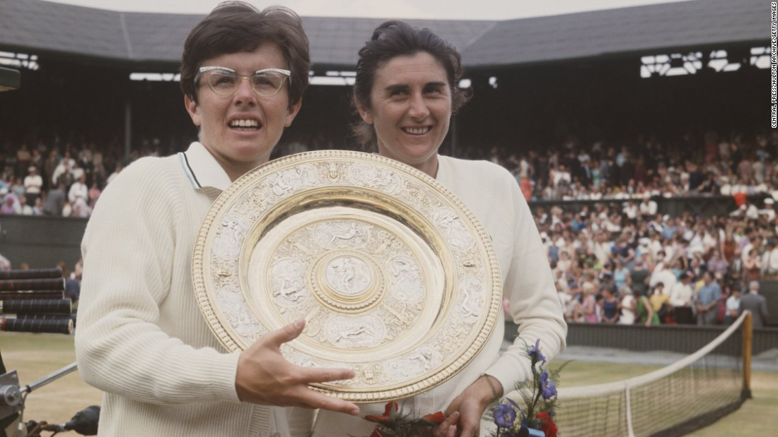 King won half of her 12 career majors at Wimbledon, between 1966 and 1975. She was also instrumental in the formation of the Women's Tennis Association in 1973 that battled for equality in the sport.