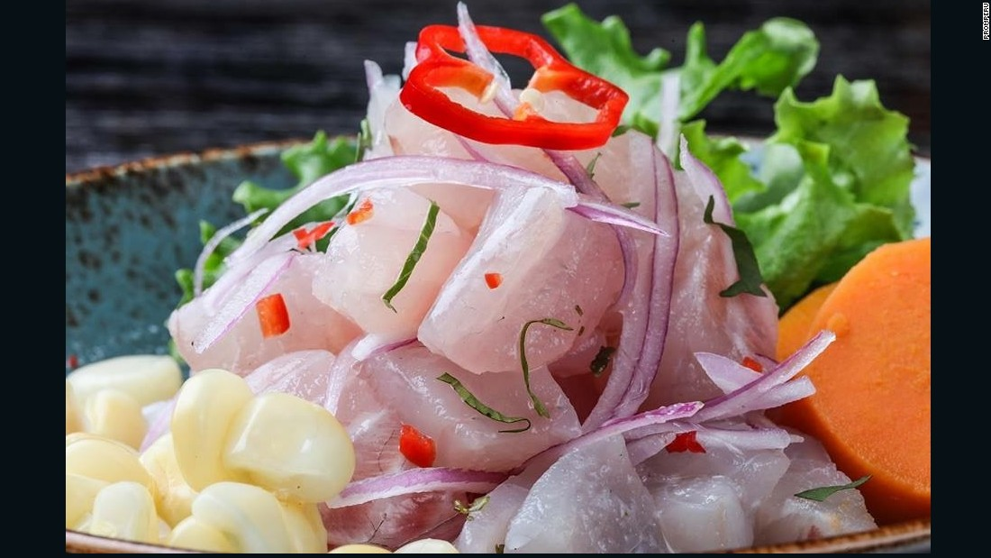 Considered Peru's national dish by many, ceviche -- spelled cebiche in Peru -- is made up of marinaded fresh seafood, lime juice, chilies, red onion, sweet potato, cancha crunchy corn and cilantro.