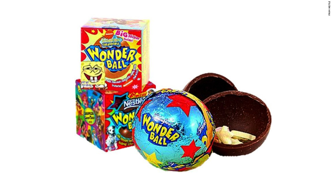 "Originally the Nestle Magic Ball, the Wonder Ball was a hollow chocolate ball filled with candy. It was introduced in the '90s, reworked and reintroduced in 2000. But even that edition lasted only until 2004. They <a href=""http://www.nationwidecandy.com/snacks/items/10655.htm"" target=""_blank"">do exist online</a> -- now made by Frankford -- but have long disappeared from stores. <a href=""https://www.youtube.com/watch?v=po915tRgLOY"" target=""_blank"">So much for candy surprises</a>."
