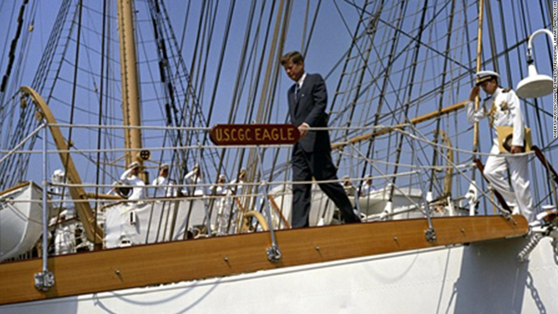 Kennedy inspects the Coast Guard barque Eagle.