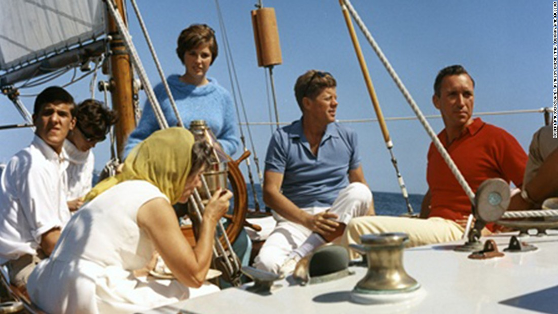 Kennedy with Mrs. Hugh D. Auchincloss, John Kerry (far left), Janet Auchincloss in Narragansett Bay, Rhode Island.