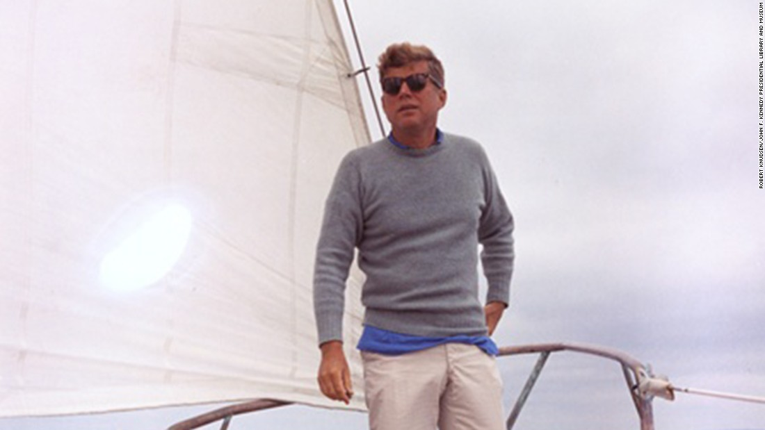 Kennedy sailing aboard the Manitou off the coast of Maine.