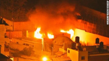 Joseph's tomb in West Bank on fire.