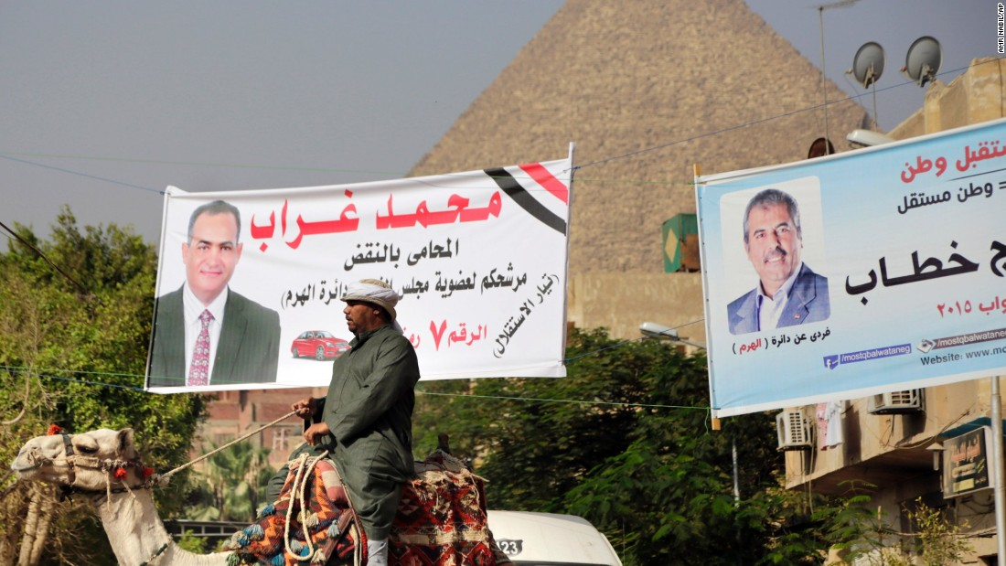 Even Egypt's most famous monuments, the pyramids, have become campaign sites.