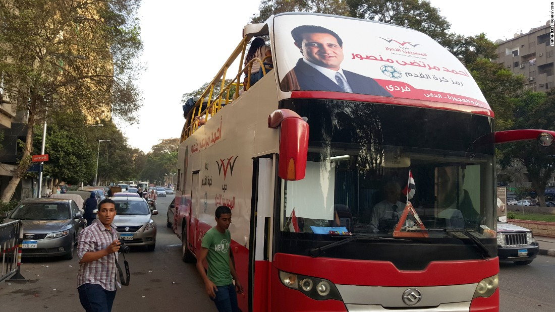 Parliament hopeful Ahmed Mortada Mansour is using a bus to boost his campaign in the Dokki and Agouza districts of Giza.