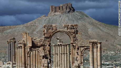 A picture taken on March 14, 2014, shows a partial view of the ancient oasis city of Palmyra, 215 km northeast of Damascus. (Photo credit: JOSEPH EID/AFP/Getty Images)