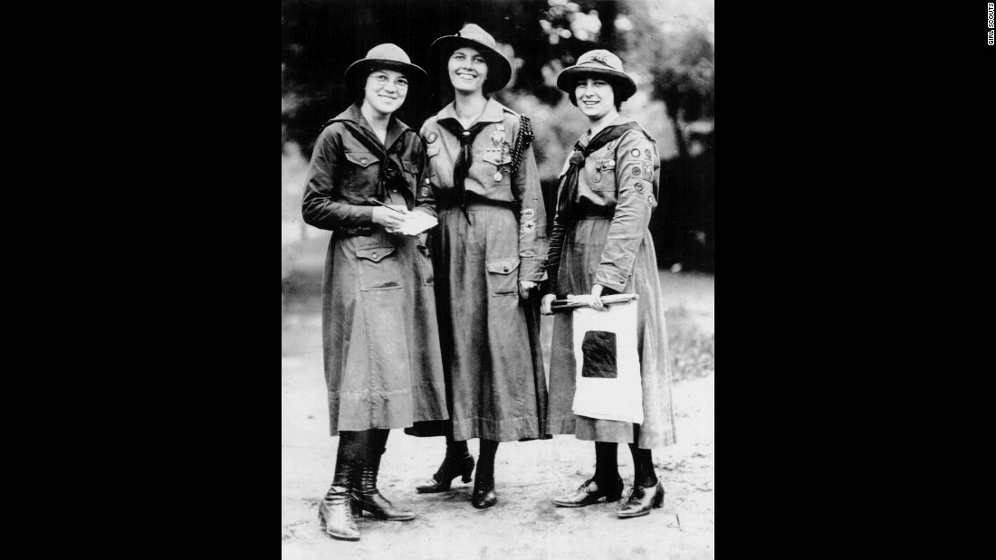 "<strong>1910s:</strong> Juliette Gordon Low hoped to create an organization ""that would prepare girls to meet their world with courage, confidence and character."" Dorothy Fath, left, Capt. Rhonda Piggot, middle, and Viola Oates from Cleveland Pansy Troop No. 1, shown here around 1919, were some of the first girls to benefit from Low's lofty mission."