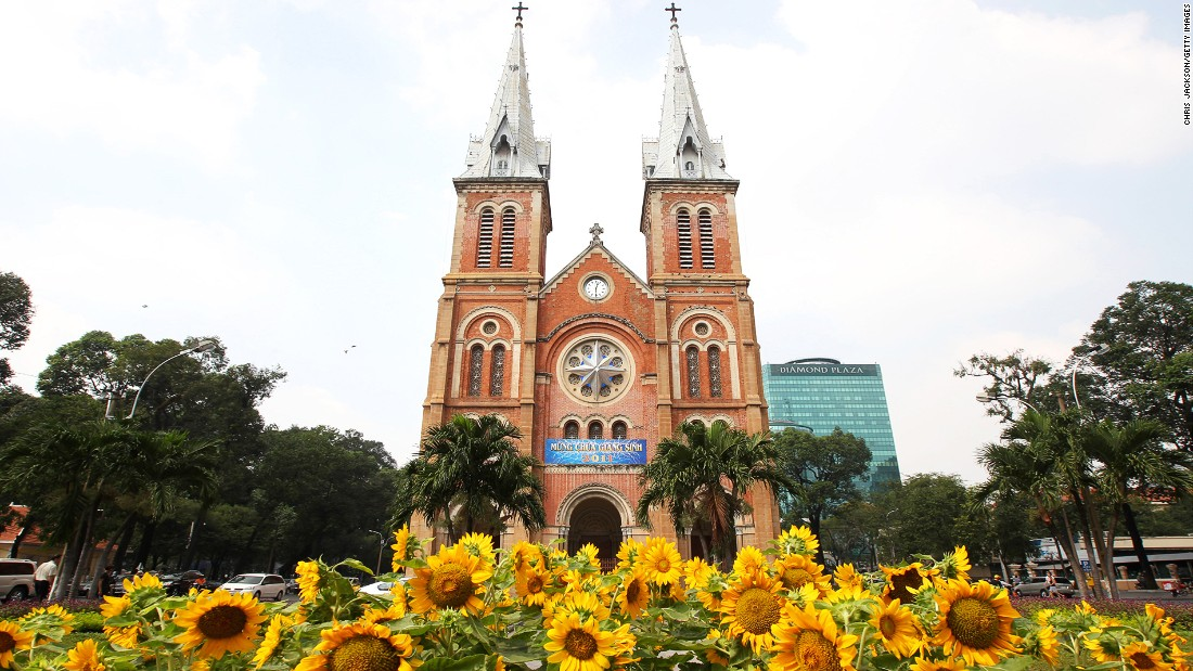 Built during the French colonial period, Saigon Notre-Dame Basilica has been standing since the 1880s. Huge crowds flocked to the church in 2005 after a statue of the Virgin Mary was rumored to have shed tears.