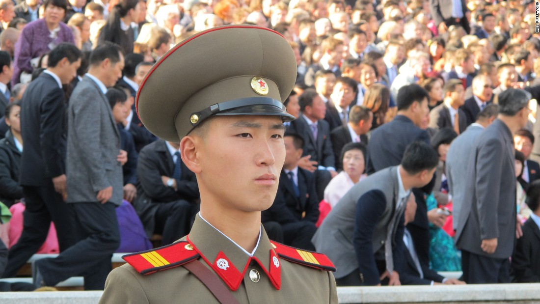 "During a carefully choreographed show of strength to mark the <a href=""http://edition.cnn.com/2015/10/10/asia/north-korea-military-parade/"">70th anniversary of the ruling Korean Workers' Party</a> in October 2015, a soldier marches across Pyongyang's Kim Il Sung Square."