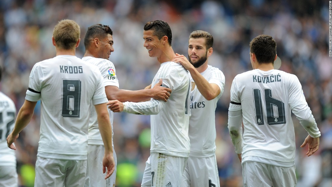 <strong>October 17, 2015:</strong> Ronaldo celebrates with teammates after scoring against Levante to become Real Madrid's leading all-time goalscorer. As of October 17, 2015, the Portuguese striker had scored 324 goals in 309 games for the Spanish giants.