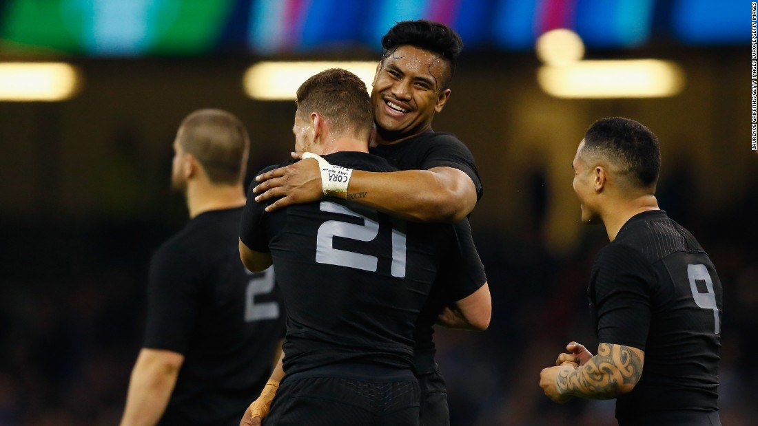 New Zealand players celebrate after thrashing France in the 2015 Rugby World Cup quarter final in Cardiff.