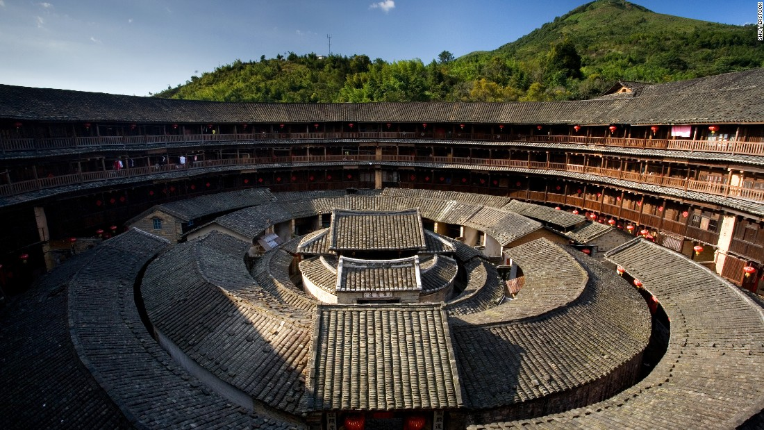 Tulou structures have existed for over 2,000 years. They were built by Hakka people. 46 Tulou structures, located in Fujian, are UNESCO world heritage sites.